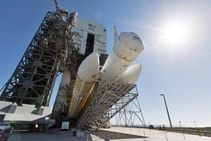 a delta four heavy rocket at cape canaveral florida