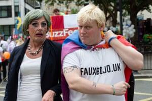 A fake Theresa May and Boris Johnson
