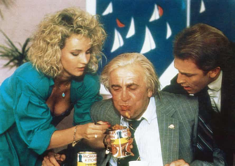 Barry Humphries (centre) in a scene from the bizarre 1987 film Les Patterson Saves the World.