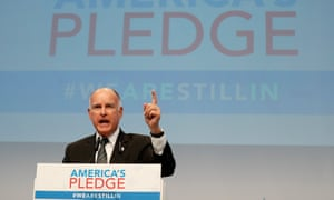 California Governor Jerry Brown speaks at the US Climate Action Center during the UN Climate Change Conference COP23 in Bonn, Germany, 11 November 2017.