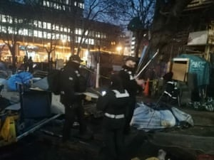 Officers began the eviction shortly before 5am on Wednesday