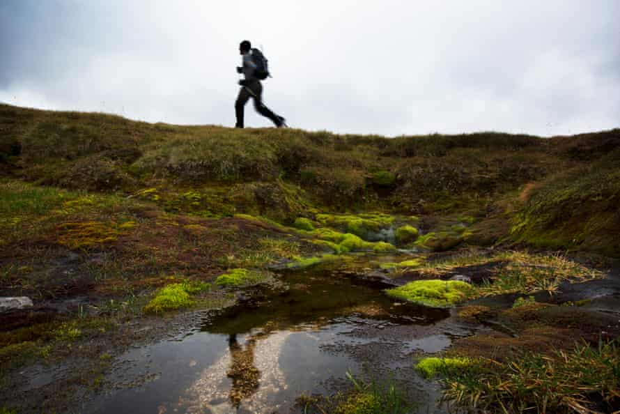 Cameron passes the source of the River Dee – the Wells of Dee – on the mountain top spot where it springs from the ground.