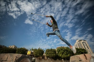 18-year-old Palestinian Mohammed Uleywa, who was shot in the foot two years ago by Israeli soldiers, shows his skills in parkour on concrete blocks despite his disability.