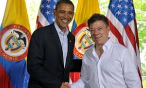 Juan Manuel Santos and Barack Obama.