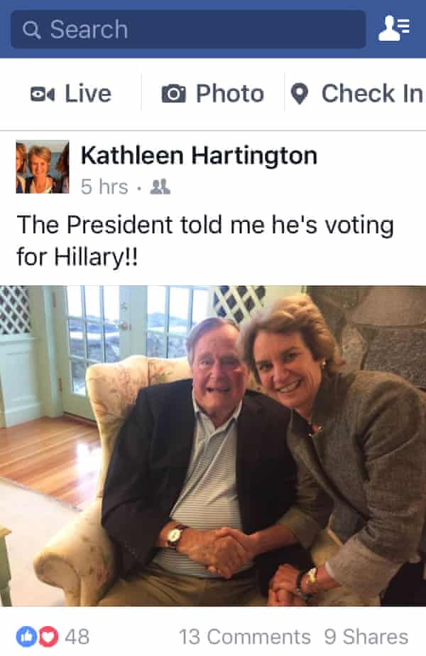 """Kathleen Kennedy Townsend poses with president George Bush in a photograph posted on Facebook with the comment: """"The President told me he's voting for Hillary!"""""""