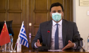 Greek Health Minister Vassilis Kikilias speaks at an online signing ceremony for a donation agreement in Athens, Greece, on June 16, 2020. Credit: Xinhua/REX/Shutterstock