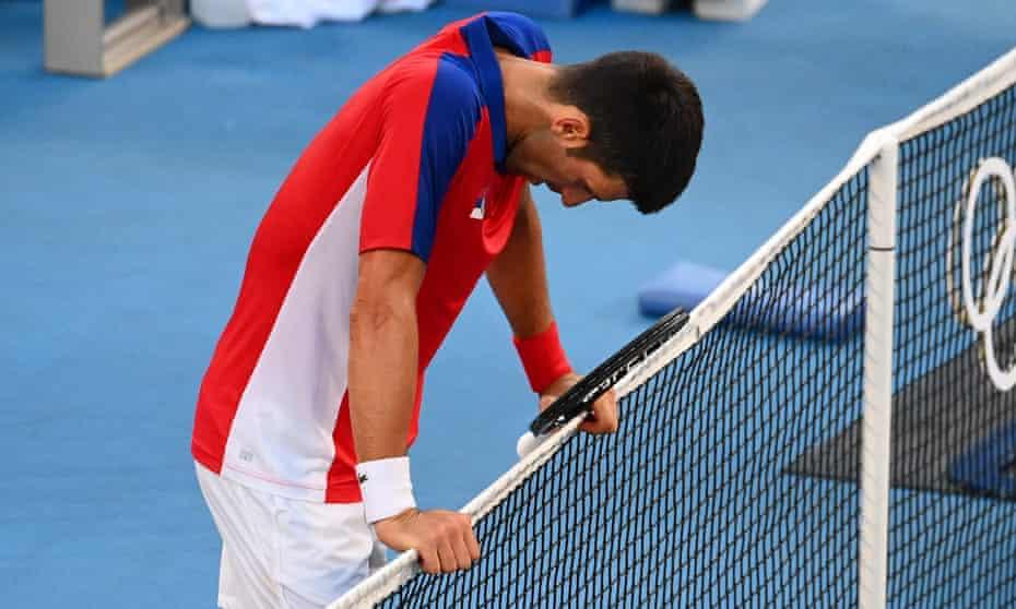 Novak Djokovic reacts after losing the bronze-medal match.