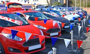 A Ford car dealership business forecourt