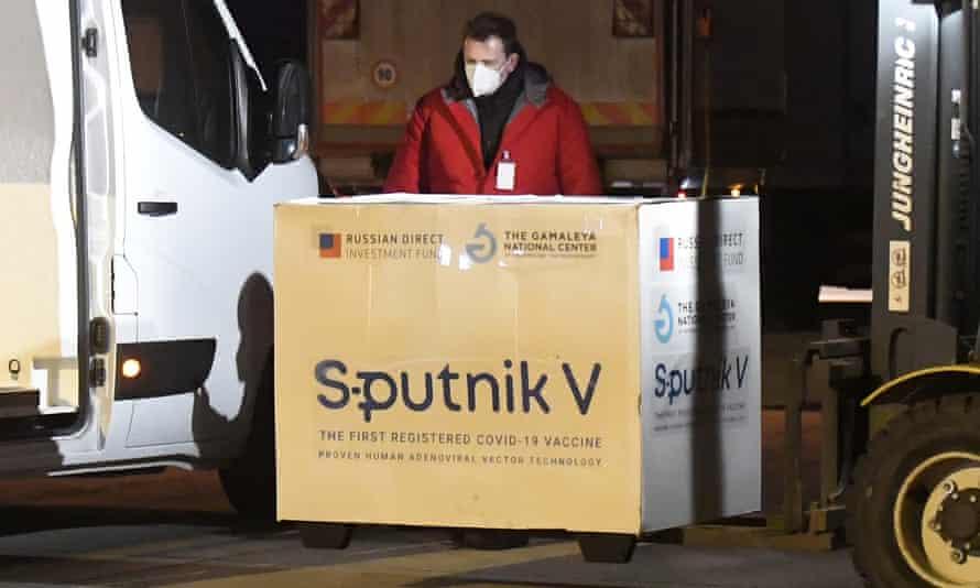 Slovakia receives a batch of Russia's Sputnik V coronavirus vaccine on 1 March 2021.