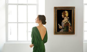 Victoria Beckham poses with a portrait of a lady in profile, attributed to the 'Circle of Leonardo da Vinci'