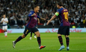 Philippe Coutinho with Lionel Messi, whose new deal at Barcelona, which sees him paid in excess of £50m per year, is a major factor in the Catalan club's swollen payroll.
