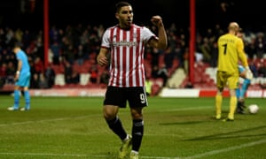 Brentford's Neal Maupay celebrates scoring their third goal against Barnet.