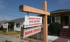 A sign is posted in front of a bank-owned home in Richmond, California, in 2008.