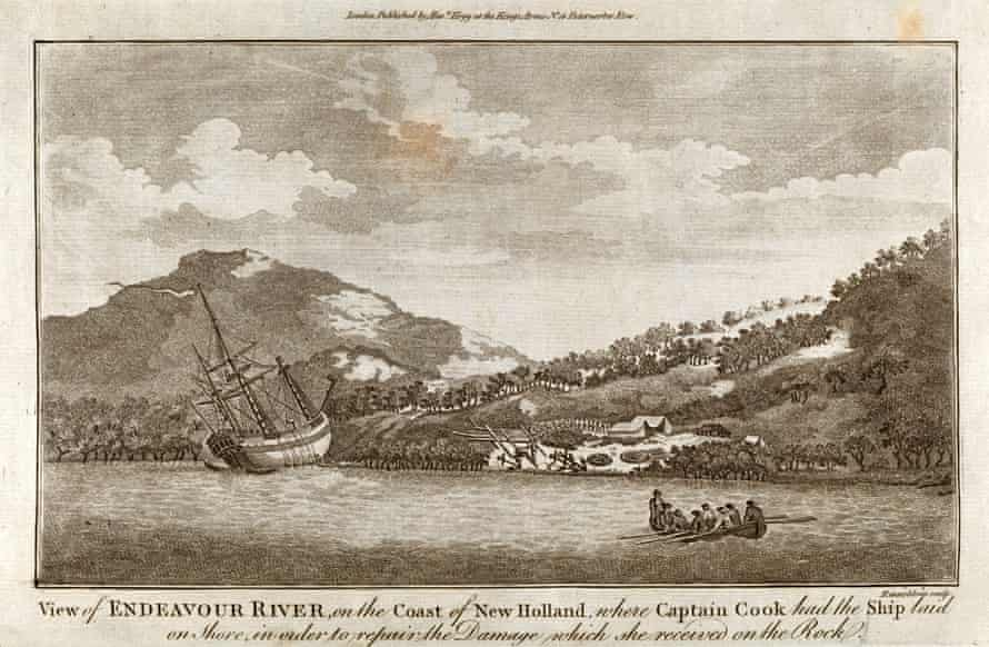 Engraving by Rennoldson of Captain Cook's ship Endeavour laid on the shoreline of New Holland, now Queensland, in Australia. 'There were people standing on the shore as Cook weighed anchor.'