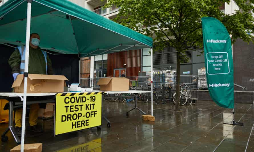 A Covid-19 test collection and drop-off point in Hackney, east London