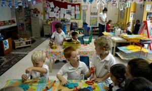 Kindergarden pupils at Jumeirah primary school in Dubai.