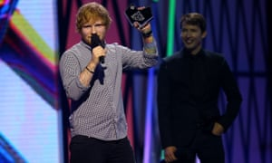 Ed Sheeran and James Blunt at the Arias.