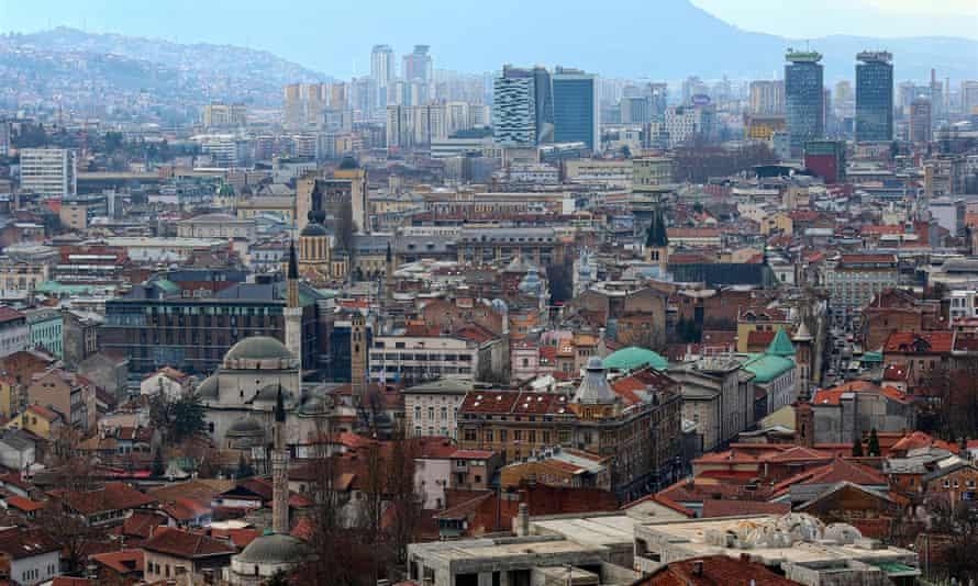 Aerial daytime city view of Sarajevo skyline.