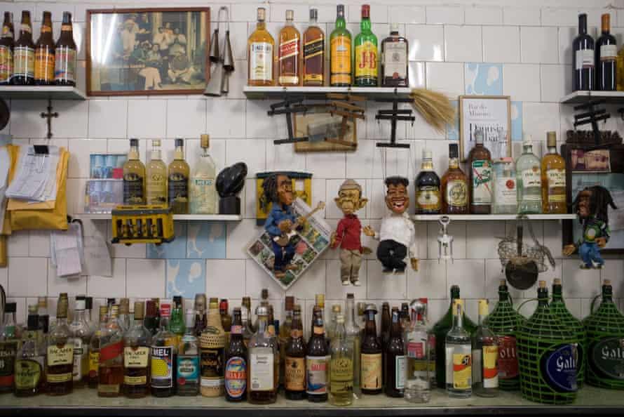Bottles of spirits and liquor in Bar do Mineiro in Santa Teresa, Rio de Janeiro
