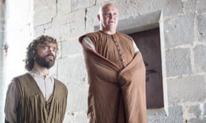 Conleth Hill as Varys and Peter Dinklage as Tyrion Lannister in Game Of Thrones.