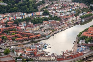 Aerial view of homes and buildings lining the floating harbour in Bristol.