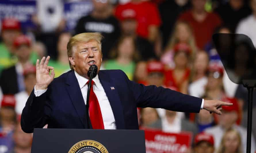 Donald Trump speaks during a rally at the Amway Center in Orlando, Florida, on Tuesday to launch his re-election campaign.