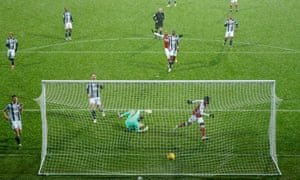 Bukayo Saka of Arsenal scores the second goal in their emphatic victory against West Brom at the Hawthorns.