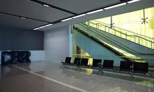 An empty passenger terminal at Canberra Airport.