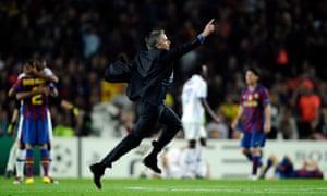 José Mourinho enjoys the moment on the turf at Camp Nou.