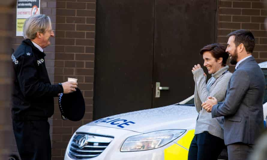 Left to right: Adrian Dunbar, Vicky McClure and Martin Compston on the set of the sixth series of Line of Duty in Belfast.