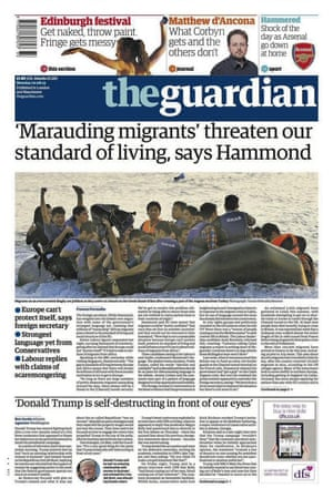 Guardian front page headlined 'Marauding migrants' threaten our standard of living, says Hammond