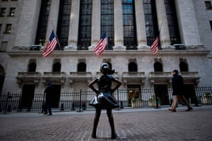 "The ""Fearless Girl"" statue stands facing the New York Stock Exchange (NYSE) today"