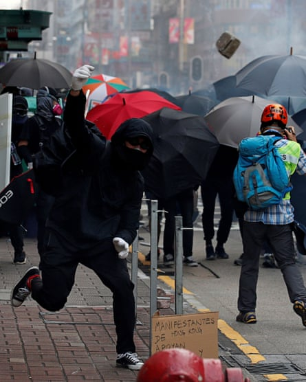 Anti-government demonstrators protest in Hong Kong.