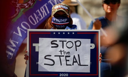 """Supporters of Donald Trump gather at a """"Stop the Steal"""" protest in Phoenix, Arizona."""
