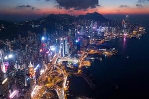 A general view of Hong Kong at night