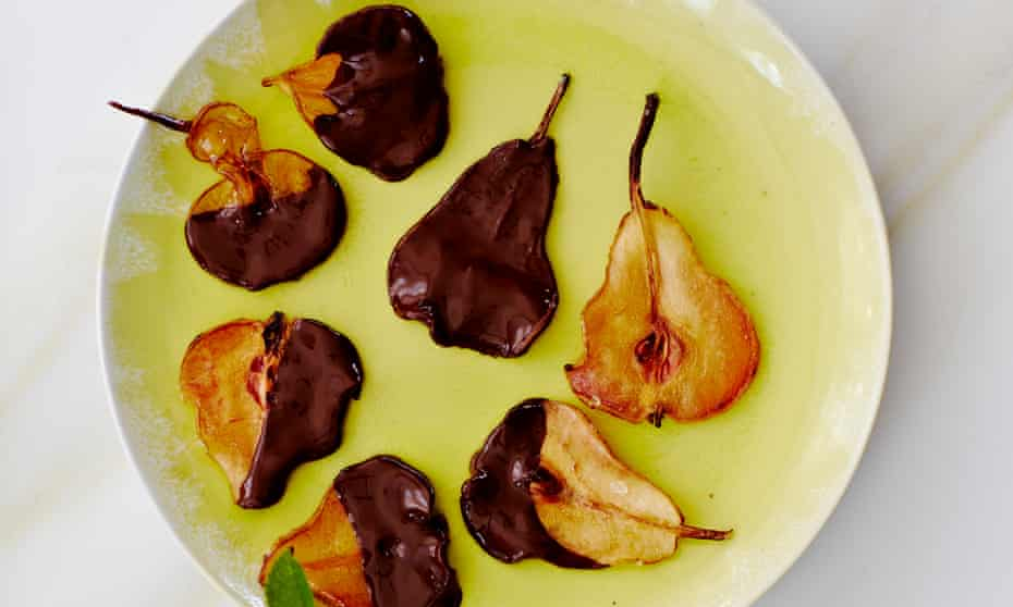 Ostentatiously luxurious … chocolate-dipped pear crisps.
