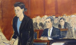 In this courtroom drawing, Michael Cohen is seated at center as assistant US attorney Andrea Griswold outlined the charges against him.