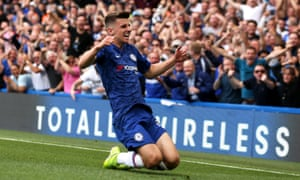 Mason Mount celebrates his first goal for Chelsea, against Leicester last month, and he now has three in his five Premier League games for the club.