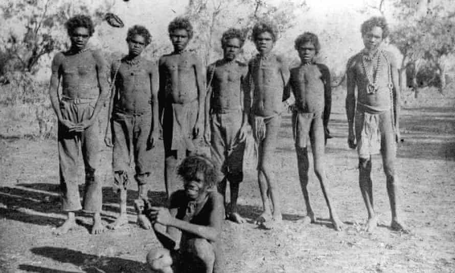 Aboriginal men in chains. From the James McLure Thompson collection of photographs taken at Ord River Station, Australia, 1901.