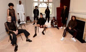 "Bianca Saunders' presentation was geared to ""feeling comfortable in your own space"". This saw laddered knitwear and comfort wear, in a largely black and neutral colour palette."