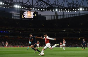 Sead Kolasinac of Arsenal gets ready to put in a cross.