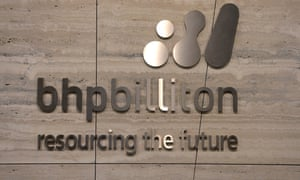 BHP Billiton signage at the BHP Business centre in Melbourne. The company made profits of nearly $14bn in the year to 30 June.