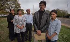 The Balachandrans with their children, Karthika - who volunteers at a hospital, Pranavan, who could not accept his university place, and Sinthuja, who has a job offer depending on her immigration status.