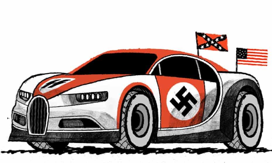 Illustration by David Foldvari of an alt-right Bugatti with confederate and Nazi insignia