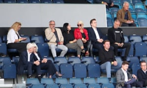 Prospective new owner Thomas Sandgaard (right, in black jacket and T-shirt) watched Charlton's EFL Trophy group match against AFC Wimbledon.