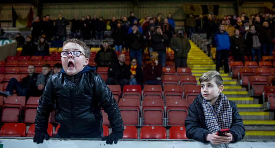 Young fans at a Partick Thistle football match