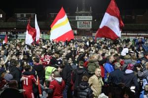 Accrington Stanley fans celebrate promotion to League One