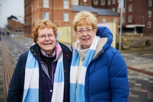 Manchester City fans Brenda Jeffery, left), and Wendy Lowther walking from the town centre to the Riverside.