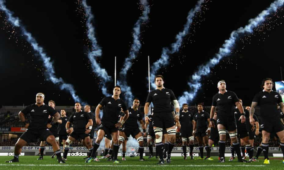 The All Blacks perform the haka before their match with Ireland at Eden Park in June 2012.