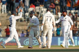 India celebrate the wicket of Jack Leach.